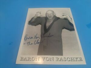 """AWA WWWF Baron Von Raschke """"The Claw"""" Autographed 8.5"""" x 11"""" B&W Photo"""