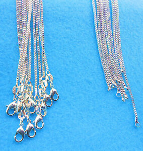 "Wholesale 10PCS 16"" Jewelry Lot 925 Silver Plated BOX Chain Necklace Pendants"