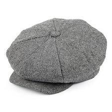 Jaxon Grey Herringbone Big Apple Newsboy Cap Peaky Blinders Style Gatsby Hat