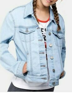 EUC ZARA KIDS unisex blue washed button down denim jacket age 9-10y.o.