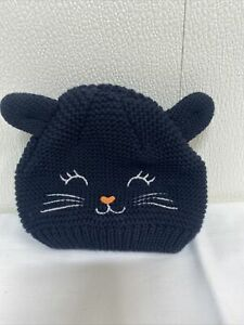 Carter's Baby 3-9 months black cat hat Stretch ears Halloween costume