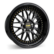 ESR SR01 18x8.5 +30 5x100 Gloss Black w/ Gold Rivets (Set of 4)