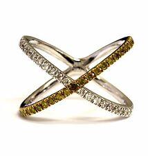 New 10k white gold SI2 H .50ct yellow diamond X Criss-Cross Orbit ring 3.6g