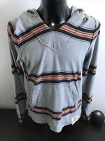 Hollister Men's 100% Cotton Grey Brown Orange Red Striped Hoodie Size Small