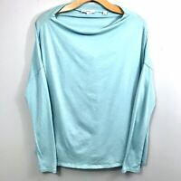 Vince Long Sleeve Boatneck Top Size XS Aqua Blue-Green