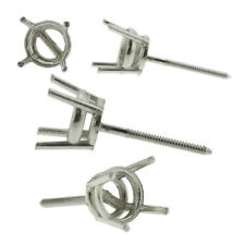 Platinum Round Stud Earring Mounting Setting Heavy Screw Back Post 4 Prong