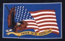 PROUD TO BE AMERICANA 5x3 BLU BANDIERA CON FAMOSO DORATO AQUILA USA