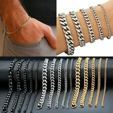 Mens Unisex 3-11mm Stainless Steel Curb Cuban Link Chain Bracelet Wrist Jewelry