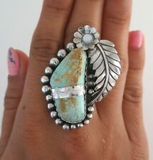 XL Sterling Silver & Turquoise w/ Mother of Pearl Flower Size 9 Statement Ring