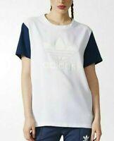 Adidas BF Trefoil Tee Women's T-Shirt White Blue Cotton Poly Blend Summer Top