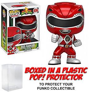 Funko POP! Television ~ METALLIC RED RANGER (#406) VINYL FIGURE w/Protector Case