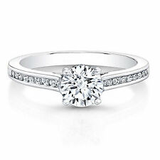 0.66 Ct Round Cut Solitaire Diamond Engagement Ring 14K White Gold Finish Size N