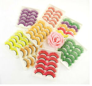 Assorted False Eyelashes 3D 5 Pairs Pack Multicolor -18 Styles