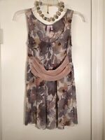 Anthropologie SWEET PEA by STACY FRATI Mauve & Taupe Mesh Top Sz M (6-8) MINT