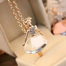 Lady Ballet Dancing Girl Sweater Necklace Rhinestone Long Dress Crystal Pendant
