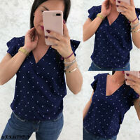 Women Chiffon Polka Dot Short Sleeve Blouse Summer Casual Loose Tops T Shirt