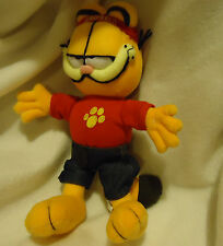 "PLUSH GARFIELD WITH RED CAP/SHIRT/BLUE JEANS BY NANCO PAWS...CUTE..12"" TALL"