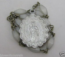 """† RARE ANTIQUE """"CONGERGATION OF THE HOLY CHILD JESUS"""" GLASS CHAPLET ROSARY †"""