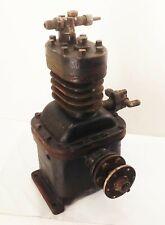 Vtg Antique Cast Iron Single Cyl Air Compressor Pump Motor Belt Pulley Drive