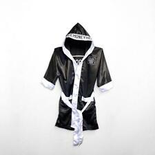 PlaceMoneyHere™ Satin Boxing Robe Black and White