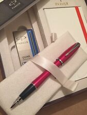 PARKER URBAN METALLIC PINK FOUNTAIN PEN & NOTE BOOK DELUXE GIFT SET-BLUE INK