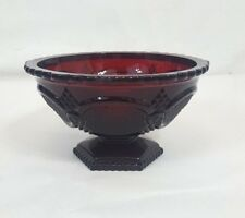Vintage Avon 1876 Cape Cod Footed Candy Dish Ruby Red Cranberry Glass Bowl Mint