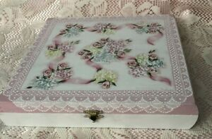 Hand Painted Wooden Cigar Box Cottage Chic Pink Roses Hydrangeas Shabby Lace HP