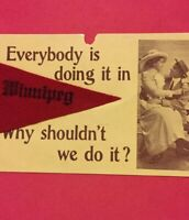 Postcard, Felt Pennant, Everybody Is Doing It Winnipeg Canada, Vintage P22