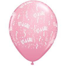5 Luftballons It`s a girl, Qualatex, ca. 30 cm, Babyballons Babyparty