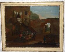 Antique Reverse Painting on Glass Dutch Courtyard Willem Mengelberg Collection