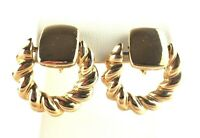 Clip on Earrings Door Knocker Hoop Gold Tone Rope Twist Dangle 1980-90s Vintage