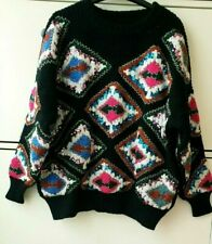ZARA BLACK OVERSIZED  BEADED  SWEATER /JUMPER WITH GEOMETRIC EMBROIDERY  SIZE S