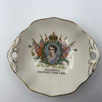 VINTAGE ROYAL WINTON ENGLAND QUEEN ELIZABETH II CORONATION 1953 PIN TRINKET DISH