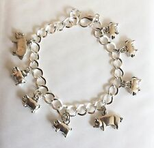 PIG SOW AND PIGLETS SILVER TONE CHARM BRACELET 19-21 CM CHOICE OF LENGTH