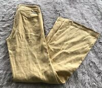 Anthropologie Level 99 Yellow Mid Rise Button Pocket Wide Leg Pants Women's 25