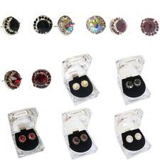 Ladies Women Girls Silver Stud Red Black Purple Crystal Diamante Round Earrings
