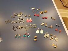 Vintage Lot of 28 Pairs of Pierced Earrings, 1 clip