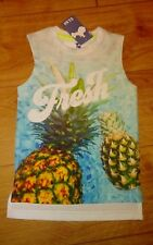 New Girls White TU Pineapple 'Fresh' Logo Sleeveless Top Age 3 Years