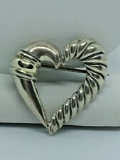 DAVID YURMAN 925 STERLING SILVER & 14KT GOLD HEART BROOCH