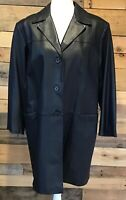 Preston & York Petites women's black lambskin leather trench coat lined PL