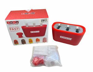 Zoku Red Triple Quick Pop Popsicle Maker Mold Instant Ice Cream Bars Open Box