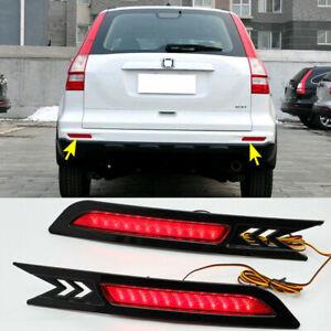 For Honda CRV CR-V 2010-2011 Rear Bumper LED Reflector Brake Fog Light Lamp Kit