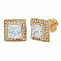 2.1ct Princess Cut Halo Stud Solitaire Earrings Solid 14k Yellow Gold Screw Back