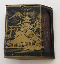 Antique JAPANESE Komai DAMASCENE Mount FUJI Parallelogram MATCH BOX HOLDER VESTA