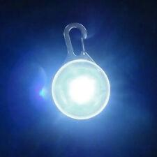Pet Dog LED Flasher Blinker Circular Light Buckle Clip Safety Pendant White