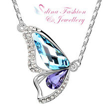 18K White Gold GP Made With Swarovski Crystal Aqua & Purple Butterfly Necklace