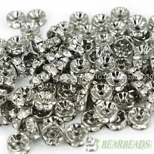 100 Czech Crystal Rhinestone Gunmetal Rondelle Beads 4mm 5mm 6mm 8mm 10mm 12mm
