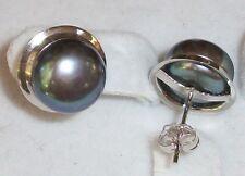 2.3g Hawaiian Black Pearl Stud Earring 14K White Gold Hawaii Jewelry