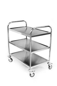 Commercial Stainless Steel Three Tier Restaurant Catering Clearing Trolley Large