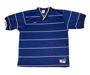 Vintage 90s Nike Team Embroidered Navy/White Striped Blank Soccer Jersey Size M